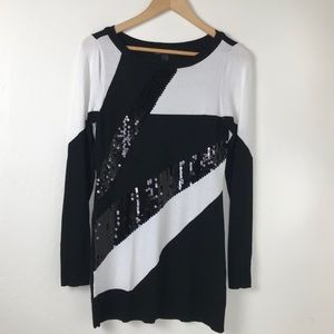 INC International Concepts Sweaters - INC Black and White Tunic Sequin Sweater